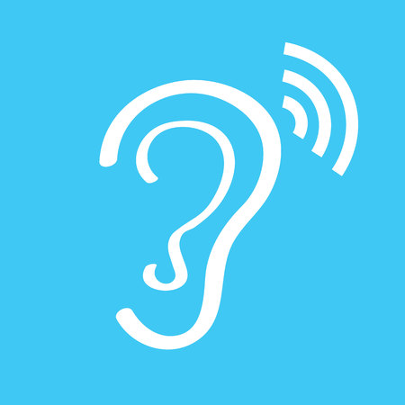 blab: Human ear sign icon on white background.