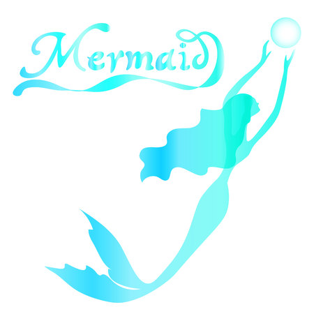 long curly hair: cute fairy swimming mermaid with long curly hair silhouette vector illustration of turquoise on a white background with the words mermaid