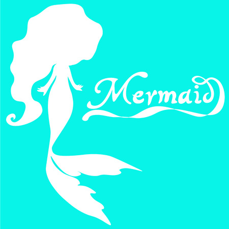 long curly hair: cute fairy swimming mermaid with long curly hair silhouette vector illustration of white on a  turquoise  background