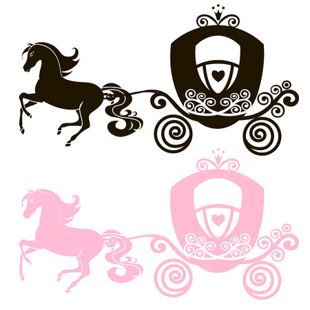 Fabulous Royal pink Princess carriage horse-drawn