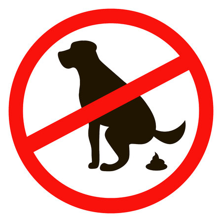 pooping: No dog pooping sign black silhouette on white background