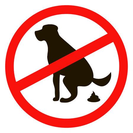 Sin caca de perro signo silueta en negro sobre fondo blanco Foto de archivo - 57263776