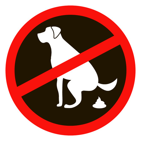 pooping: No dog pooping sign white silhouette on black background Illustration