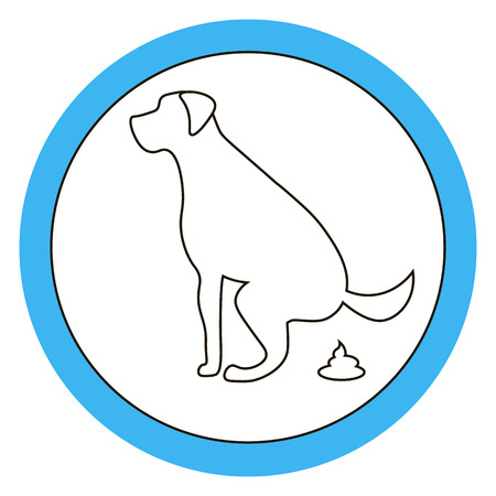 Dog pooping sign white silhouette on  blue background Ecological cleanliness of the environment, taking care of pets.