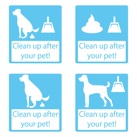 cleanliness: Clean up after your pet. Set icon. Ecological cleanliness of the environment, taking care of pets. dog pooping sign white silhouette on  blue background