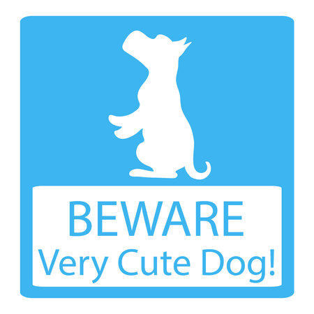 love very: Very Cute Dogs Signs  Vector Illustration on  blue background