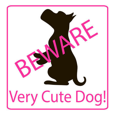 endearing: Very Cute Dogs Signs  Vector Illustration  pink background