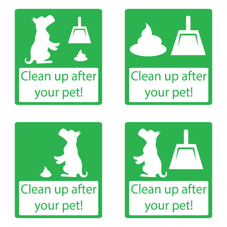 pooping: Clean up after your pet. Set icon. Ecological cleanliness of the environment, taking care of pets. dog pooping sign white silhouette on  blue background