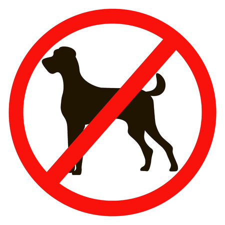 illegal zone: No dogs sign isolated on white background