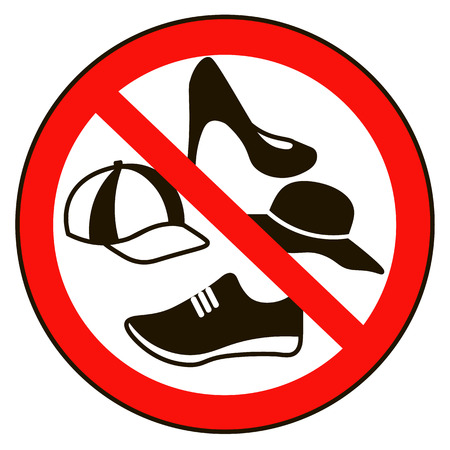 woman shoes: Take off cap and shoes Signs. No cap shoes sign warning. Prohibited public information icon. Not allowed cap  and shoe symbol. Stop label. cap  and shoe in red round isolated on white background. Illustration