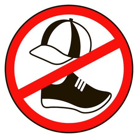 flat shoes: Take off cap and shoes Signs. No cap shoes sign warning. Prohibited public information icon. Not allowed cap  and shoe symbol. Stop label. cap  and shoe in red round isolated on white background. Illustration