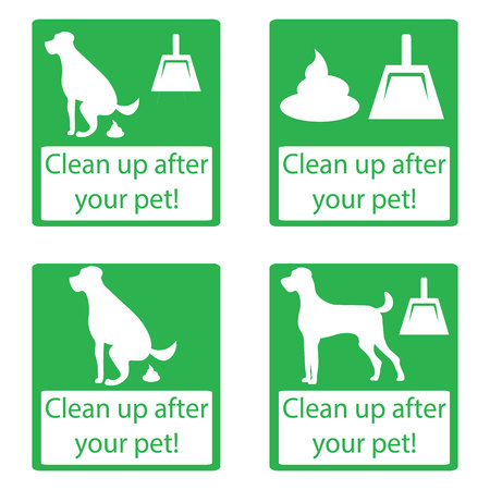 cleanliness: Clean up after your pet. Set icon. Ecological cleanliness of the environment, taking care of pets. dog pooping sign white silhouette on green background Illustration