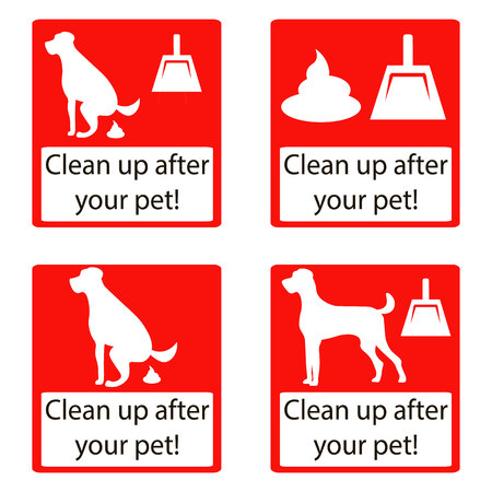 pooping: Clean up after your pet. Set icon. Ecological cleanliness of the environment, taking care of pets. dog pooping sign white silhouette on red background