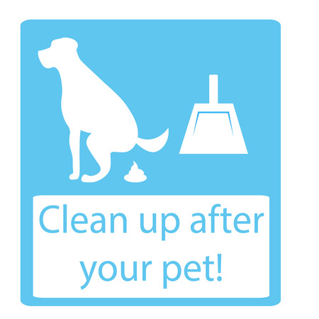 pooping: Clean up after your pet. dog pooping sign white silhouette on blue background