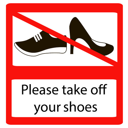 Please take off shoes signs. No shoes sign warning. Prohibited public information icon. Not allowed cap and shoe symbol.
