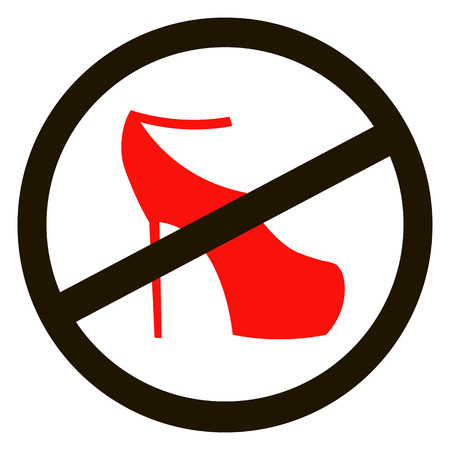 no heels: No high heel shoes sign warning. Prohibited public information icon. Not allowed women shoe symbol. Illustration
