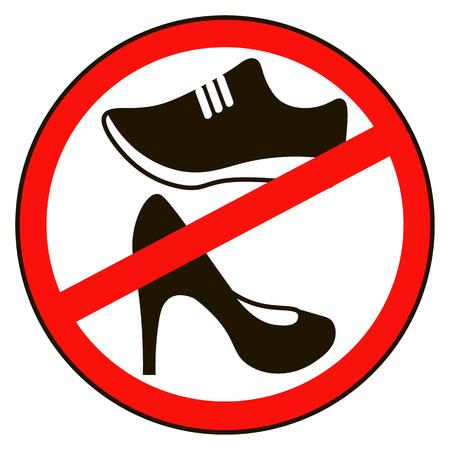 아니 신발 경고 경고. 금지 된 공개 정보 아이콘. 신발 기호는 허용되지 않습니다. 레이블을 중지하십시오. 빨간 구두에 격리 된 흰색 배경에 라운드. 일러스트