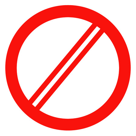 disallowed: Sign ban, prohibition, No Sign, No symbol, Not Allowed isolated on white background. Vector illustration