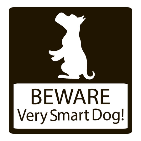 maltese dog: Beware Very Smart Dogs Signs. Friendly Dogs Signs. Vector Illustration on black background Illustration
