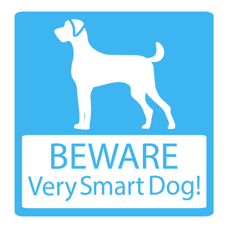 badger dog: Beware Very Smart Dogs Signs. Friendly Dogs Signs. Vector Illustration on blue background