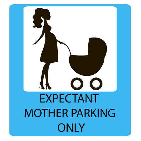 children only: parking sign for women with children, EXPECTANT MOTHER PARKING ONLY, information icon Illustration