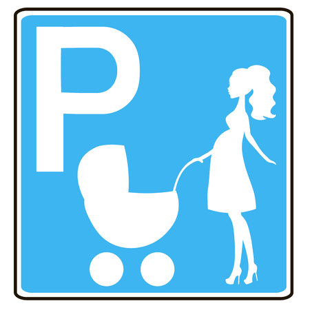Signe de stationnement pour les femmes avec enfants, femme enceinte PARKING SEULEMENT Banque d'images - 58020761