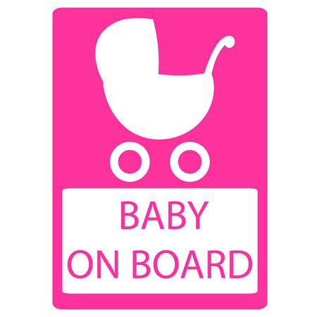 bebe a bordo: Beb� en la Muestra de la tarjeta de vectores, Cochecito de sesi�n