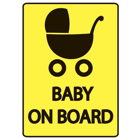 bebe a bordo: Beb� en la tarjeta de la muestra del vector, fondo amarillo Vectores