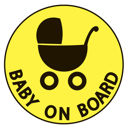 forewarning: Baby on board vector illustration sign, yellow background