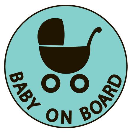 bebe a bordo: Beb� a bordo ilustraci�n vectorial signo, silueta de color negro de fondo Vectores