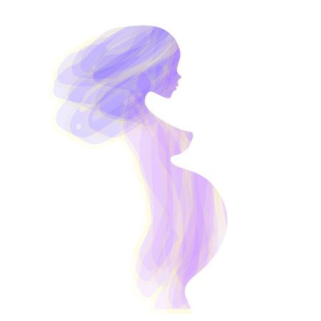 美しい裸の妊婦シルエット、抽象的なターコイズ ブルーの微妙な色、エレガントな線形スケッチ記号母性、妊娠中の母親、将来の母親、出生前のケア 写真素材 - 58021215