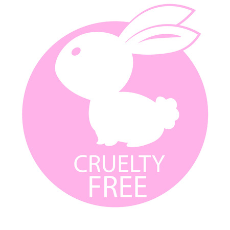 Animal cruelty free icon design. Animal cruelty free symbol design. Product not tested on animals sign with pink bunny rabbit. Vector illustration. Ilustracja