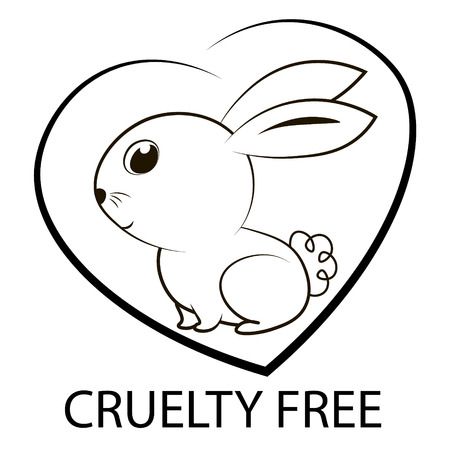 Animal cruelty free icon design. Animal cruelty free symbol design. Product not tested on animals sign with bunny rabbit. Vector illustration. Ilustracja