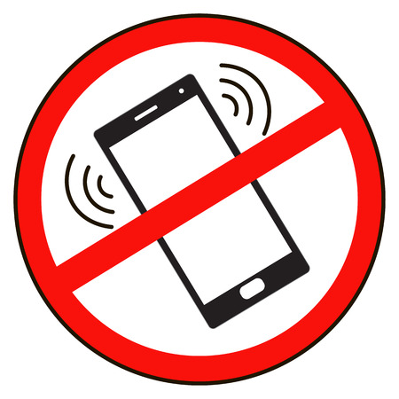 phone ban: Mobile Phone prohibited. No cell phone sign isolated white background