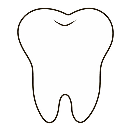 oral health: simple cartoon tooth white silhouette on a blue background, teeth, vector illustration icon, logo first tooth. Medical dental office symbols. Care for the oral cavity, dental health, care, hospital