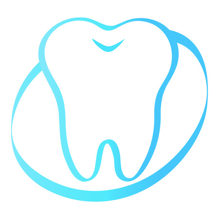 oral cavity: simple cartoon tooth white silhouette on a blue background, teeth, vector illustration icon, logo first tooth. Medical dental office symbols. Care for the oral cavity, dental health, care, hospital