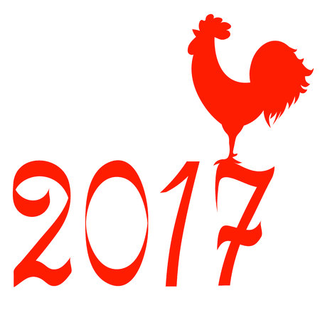 mirroring: Icon fire rooster, symbol of Chinese new year 2017. Flat design vector illustration icons and logos. red on white. The concept of a new year on the Chinese calendar
