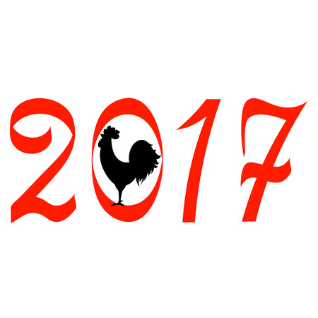 cockscomb: Icon fire rooster, symbol of Chinese new year 2017. Flat design vector illustration icons and logos. red on white. The concept of a new year on the Chinese calendar