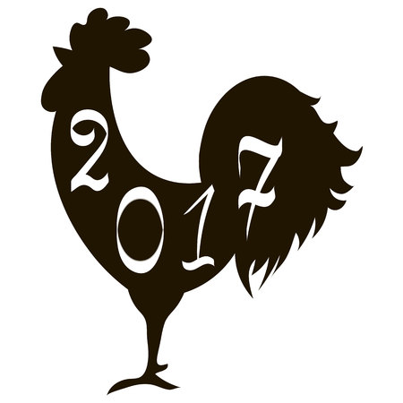 cockscomb: Icon fire rooster, symbol of Chinese new year 2017. Flat design vector illustration icons and logos. black silhouette on white. The concept of a new year on the Chinese calendar