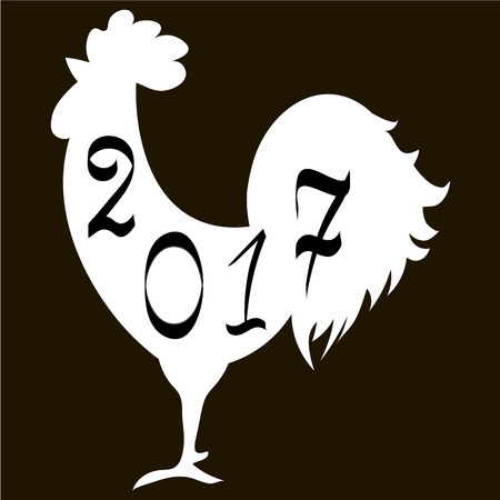 Icon fire rooster, symbol of Chinese new year 2017. Flat design vector illustration icons and logos. black and white. The concept of a new year on the Chinese calendar