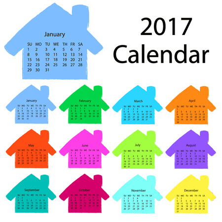 jazzy: 2017 calendar template in the form of colorful hand-drawn houses. First day Sunday. Illustration in vector format. can be used for the rectors and construction companies