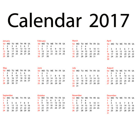 jazzy: 2017 calendar template. First day Sunday. Illustration in vector format.