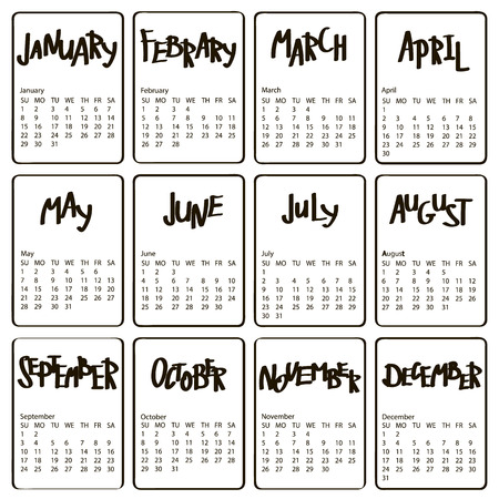 jazzy: Handwritten names of months. 2017 calendar template. First day Sunday. Illustration in vector format. Calligraphy words for calendars and organizers.