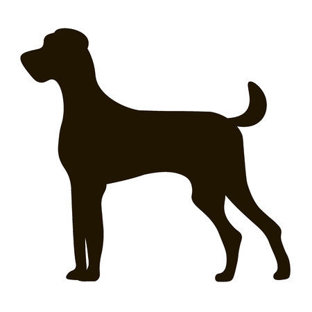 large dog: black silhouette large dog isolated on icon design