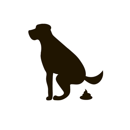 Dog pooping sign white silhouette. Ecological cleanliness of the environment, pets.