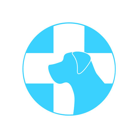 urgently: dog and a cross mark the veterinary clinic, pet health, web icon white silhouette on a blue background. medical sign