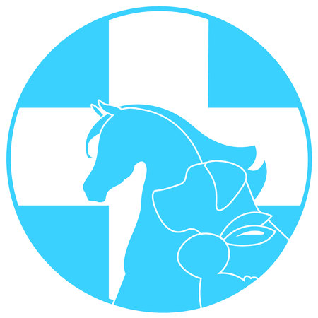urgently: dog, horse, rabbit and cross mark the veterinary clinic, pet health, web icon white silhouette on a blue background.