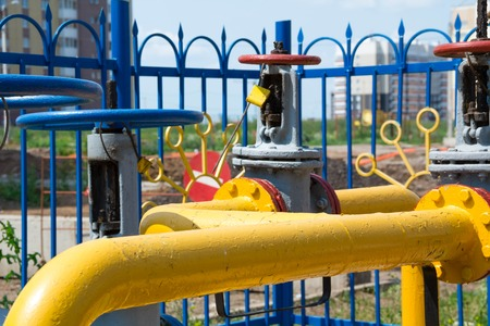 gas distribution: gas hub, the gas distribution for residential houses, gas pipe with a valve, the heating of houses in city