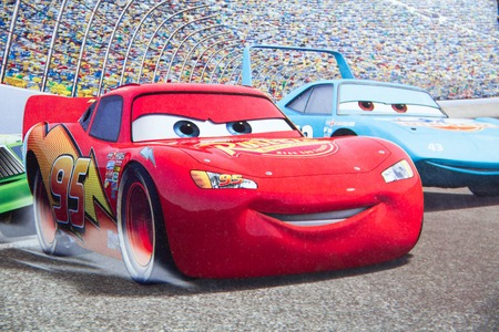 Sterlitamak, Russia - 07. 02. 2016: Disney Pixar CARS race show cartoon hero, cartoon character Walt Disney movies. Publikacyjne