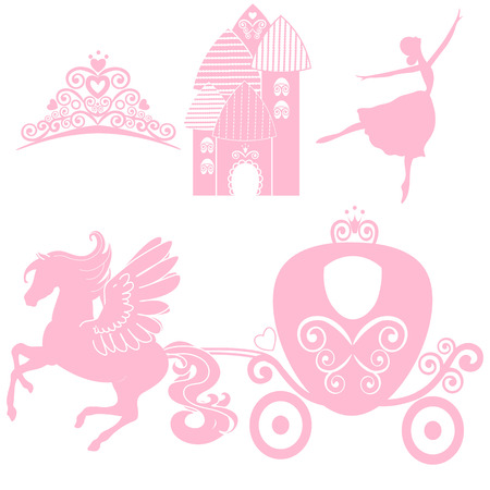 cinderella: Cinderella set of collections. design elements for little Princess, glamour girl. cards for birthday, wedding invitation. the carriage, the Palace, Pegasus, dancing